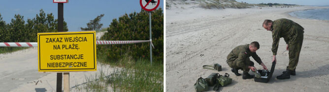 Toksyczne zanieczyszczenie plaży w Słowińskim Parku Narodowym