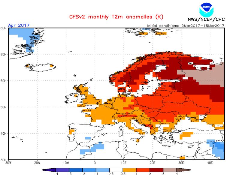Prognoza anomalii temperatury w kwietniu (NOAA)