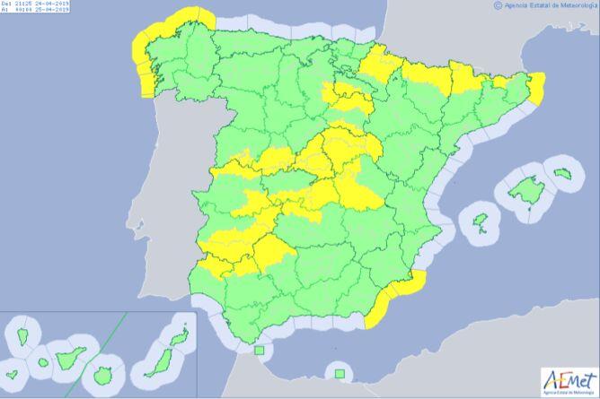 Aktualne ostrzeżenia meteorologiczne dla Hiszpanii (AEMET)