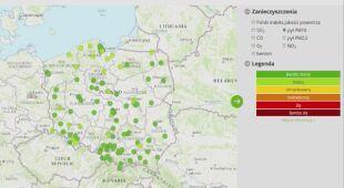 Aktualna jakość powietrza w Polsce w godz. 14-15 (GIOŚ)